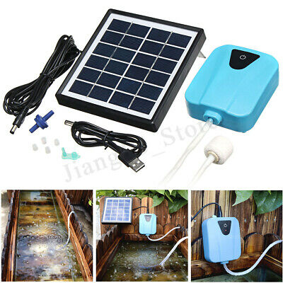 Solar Powered Air Pump Oxygenator Oxygen Aerator Outdoor Pool Pond Fish Tank Set