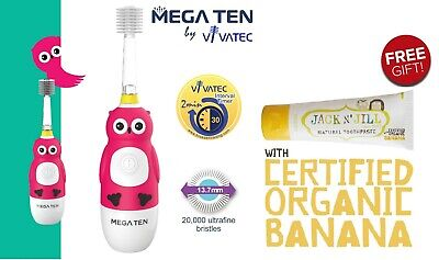 MEGA TEN KIDS SONIC_ TOOTHBRUSH (Owl) + 1pc jack n' jill banana toothpaste