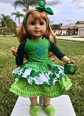 "Patrick/'s Day 18/"" Doll Clothes Dress /& Tote Bag  St"