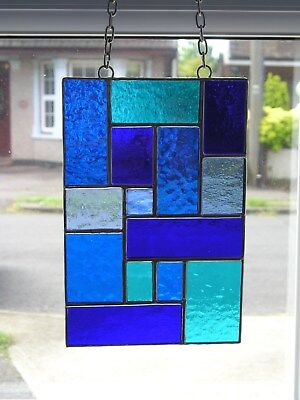 Stained Glass Panel, Abstract Suncatcher, Shades of Blue, Handmade in England