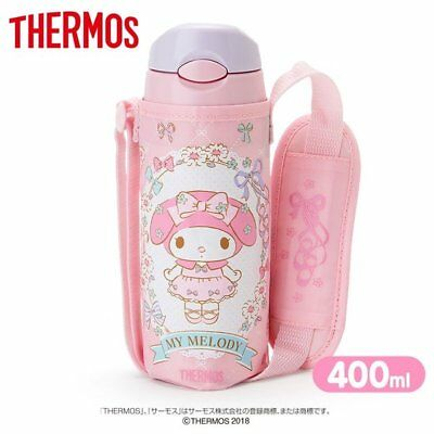 MY MELODY THERMOS Straw Bottle Tumbler 400ml with Cover Sanrio Kawaii F/S