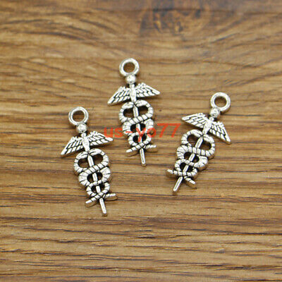 20 Caduceus Charms Medical Symbol Hospital Charm DIY Antique Silver 25x20 3506