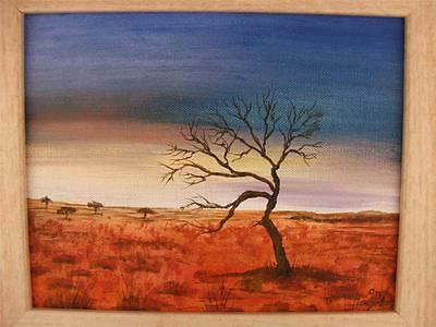 "Framed Original Acrylic  8"" x 10"" Landscape painting 'Lonely Tree' by Phil Lynes"
