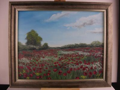 "Original Oil painting 'Poppy Field' on canvas panel 10 x 8"", framed, Phil Lynes"