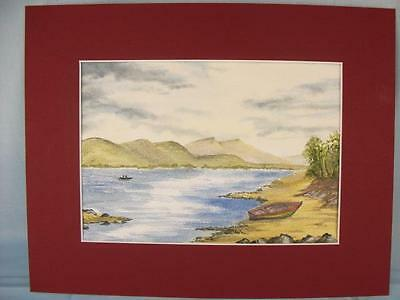 Original Watercolour Painting card mounted 'Mountain Lakeside' unframed P. Lynes
