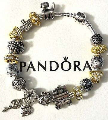 """Authentic Pandora Sterling Bracelet European Charms Beads 8.3 """"Love Story #2 """""""