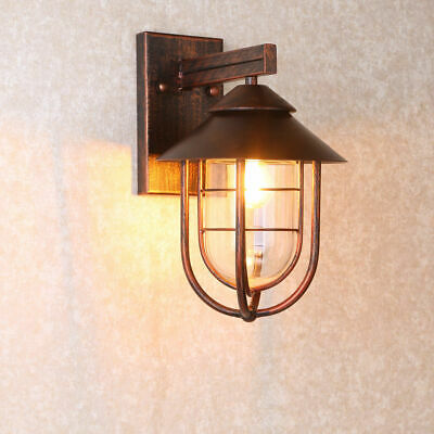 Antique Copper Indoor Sconce Metal Cage Glass Shaded Outdoor Wall Light Fixture