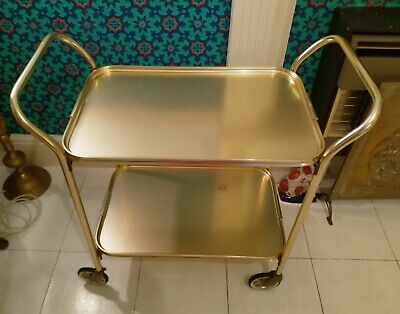 Vintage Retro Gold Hostess Cocktail Tea Trolley 2 Tier