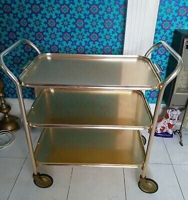 Vintage Retro Hostess Cocktail Gold Tea Trolley 3 Tier