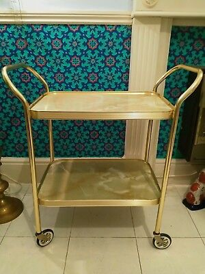 Vintage  Retro Hostess Cocktail Tea Trolley 2 Tier Marble Effect