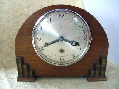 Early 20Th Century Mantel Clock With Architectural Case, Crossed Arrows