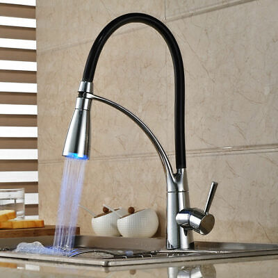 Single Handle LED Kitchen Faucet with Pullout Sprayer Chrome & Black Sink Taps