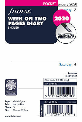 Filofax - Pocket Week on two pages English 2020 Diary