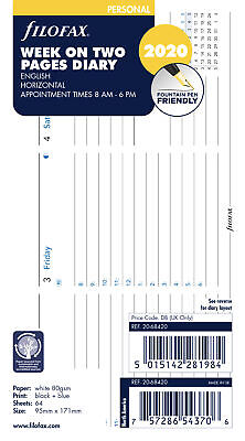 Filofax - Personal Week on two pages appointments horizontal 2020 Diary