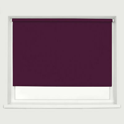 Blackout Roller Blind Drop 160cm Thermal Blinds Trimable with Fittings Aubergine