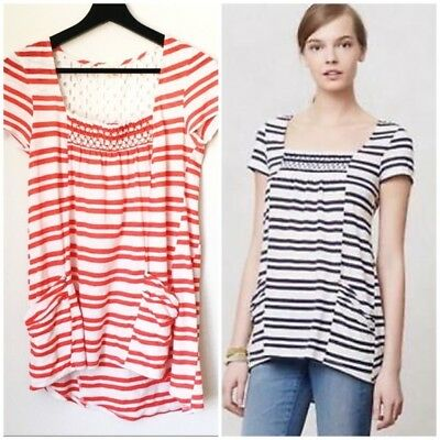 b9a9f2c56028 Anthropologie Meadow Rue Marin Eyelet Tunic Top size large womens striped  shirt