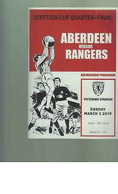 PROGRAMME - ABERDEEN v RANGERS - SCOTTISH CUP - 3RD MARCH 2019