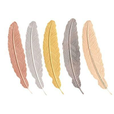 5 Pieces Metal Feather Bookmarks, Book Mark, Shape Bookmark for Adults Kids