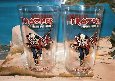 Iron Maiden Official Trooper Beer Pint Glasses x 2. NEW STYLE Plus 5 beermats