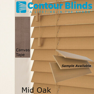 REAL WOOD WOODEN VENETIAN  BLINDS - 35 & 50mm SLATS- CHILD SAFE BLIND WITH TAPES