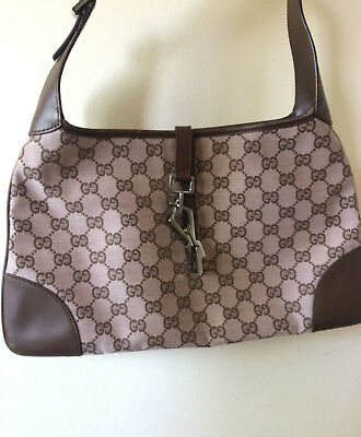 36caf2e0c53e Authentic Gucci Light Pink Brown Canvas Leather Handbag with metallic  closure