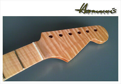 Stratocaster Neck HQ One Piece Canadian Flamed Maple, 21 Frets, Nature Finish