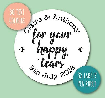 FOR YOUR HAPPY TEARS tissues wedding stickers labels personalised names date S41