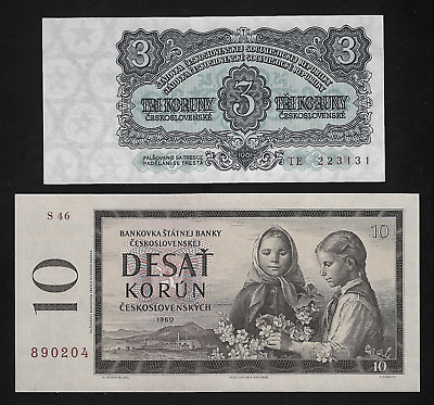 Czechoslovakia(2)Bank Notes  Korun 1961 P 81, 10 Korun 1960 P 88 All Uncirculat