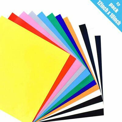"""Heat Transfer Vinyl for T-Shirts 12 Pack 12""""x 10"""" 10-Color"""