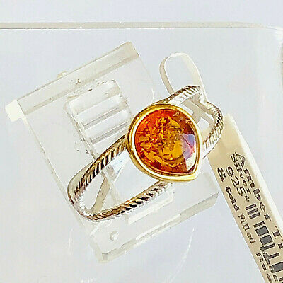 Baltic Butterscotch Honey Amber Sterling Silver Handmade Ring Russian Genuine