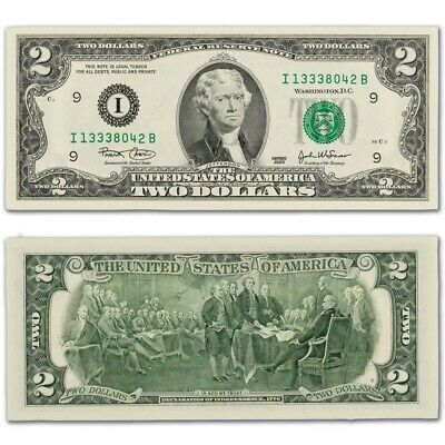 Uncirculated $2 Two Dollar bill note BEP with BCW Protective Currency Sleeve