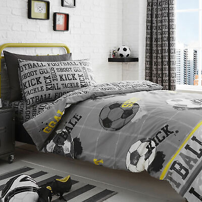 Bedlam Football Soccer Themed Duvet Quilt Cover Set. Fitted Sheet OR Curtains