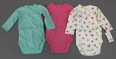 0012cbdaf Carter's Girl's 3-Pack Side Snap Bodysuits AN3 Green/Pink Size 3mo NWT