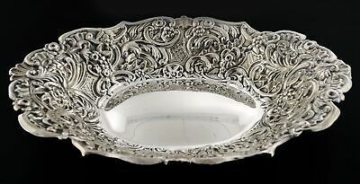 """Antique 1899 Dominick & Haff 925 Sterling Silver Repousse Bread Dish Tray 9"""""""