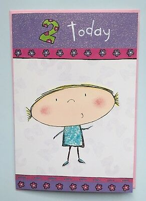 Girls Lovely Happy 2nd Birthday Card 2 Today