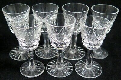 "Lot 7 Vintage WATERFORD Crystal LISMORE Small Cordial Glasses 3 1/2"" Tall"
