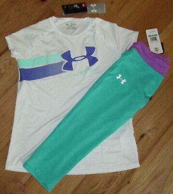 Under Armour top & fitted cropped athletic pants capris set NWT girls' XL YXL