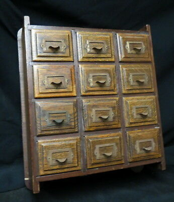 12 drawer apothecary / medical / card or spice cabinet hanging wood gallery hurt