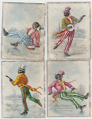 Victorian Black Americana Christmas cards depicting ice skating minstrels 1880's