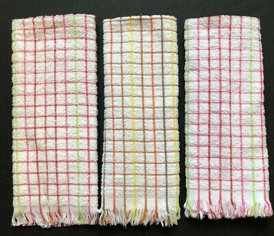 Vintage Terrycloth Kitchen Towels Plaid Multicolored Lot Of Three