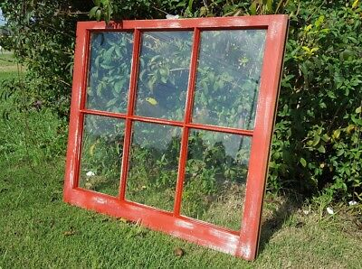Vintage Sash Antique Wood Window Frame Pinterest Distressed Red 34X28 Farm House