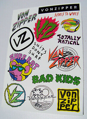 "Genuine Von Zipper VonZipper (merchandise) surf brand Sticker Sheet ""90's Style"""