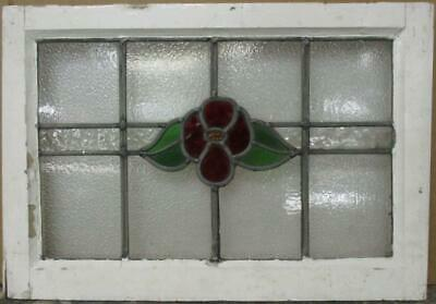 "MID SIZED OLD ENGLISH LEADED STAINED GLASS WINDOW Floral Band 23.75"" x 16.25"""
