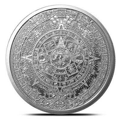 5 - 1 oz .999 Silver Rounds - Aztec Calendar - Brilliant Uncirculated - New