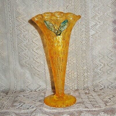 It GLOWS! Antique Czech/Bohemian Hand Blown Vasoline Art Glass Vase!! Harrach