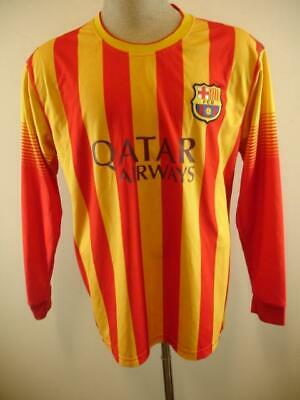 3370a48c95f Mens M L FC Barcelona SOCCER FCB Jersey Qatar Airways Red Yellow  10 Messi  Vtg