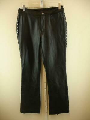 Harley Davidson Black Leather Motorcycle Studded Bootcut Pants Womens 8 29 X 33