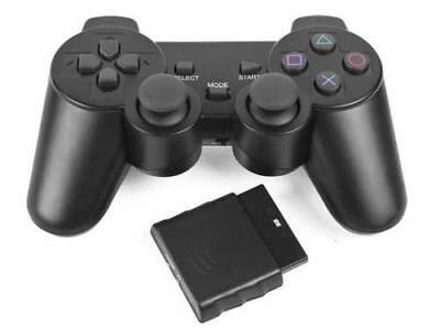 Nero Wireless Dual Shock Controller per Ps2 Playstation 2 Joypad Gamepad - Nuovo