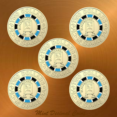 2019 MR SQUIGGLE ... 5 x $2 COINS ... UNC. from Folder ... Registered Post .. #2