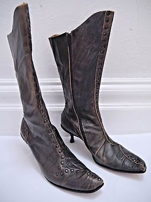 c7d8d8f8abe CYDWOQ VINTAGE  524 Bach studded brown leather boots size 38.5 WORN ONCE
